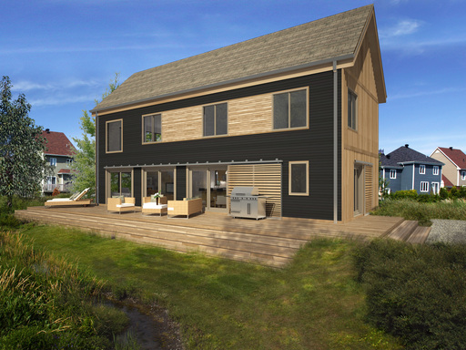 The Lofthouse from Blu Homes is a single family 2-4 bedroom home, offering a modern aesthetic.