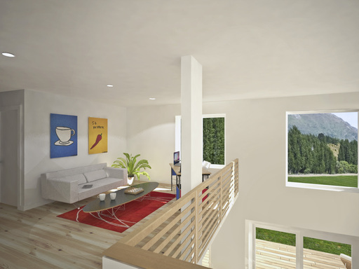 The loftspace overlooks the living area and offers abundant natural light.