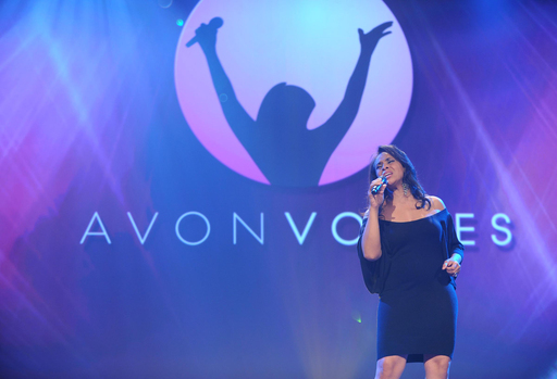 Avon Representative Selena Gittens of Canada, one of two Avon Voices winners, performs at the Avon Foundation for Women Global Voices for Change Awards Gala in New York City