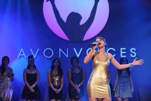 Avon Voices General Public Winner, Evelina Anusauskaite of Lithuania, performs on stage at the Avon Foundation for Women Global Voices for Change Awards Gala in New York City