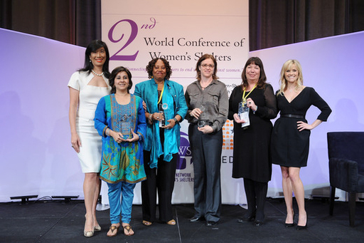 Reese Witherspoon and Avon Chairman & CEO Andrea Jung with Avon Communications Awards winners: Mallika Dutt of Breakthrough, Mary V. Balikungeri of Rwanda Women Network,  Ann Decter of YWCA Canada and Nicola Harwin CBE of Women's Aid.