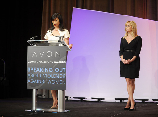 Avon Chairman & CEO Andrea Jung announces the Avon Communications Awards winners at the 2nd World Conference of Women's Shelters in Washington, D.C.