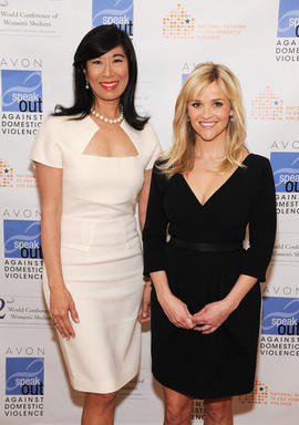 Honorary Chairman of the Avon Foundation for Women Reese Witherspoon joins Avon CEO & Chairman Andrea Jung at the 2nd World Conference of Women's Shelters in Washington, D.C.