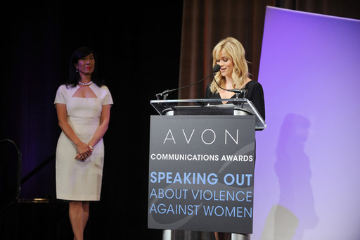 Honorary Chairman of the Avon Foundation for Women Reese Witherspoon announces the Avon Communications Awards winners at the 2nd World Conference of Women's Shelters.