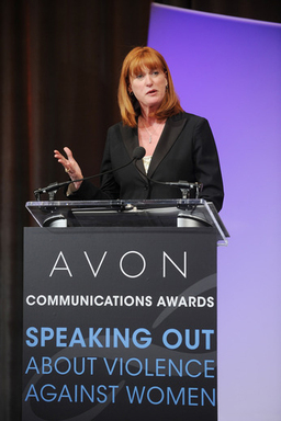 Sue Else, President of the National Network to End Domestic Violence, at the Avon Communications Awards ceremony at the 2nd World Conference of Women's Shelters in Washington, D.C.
