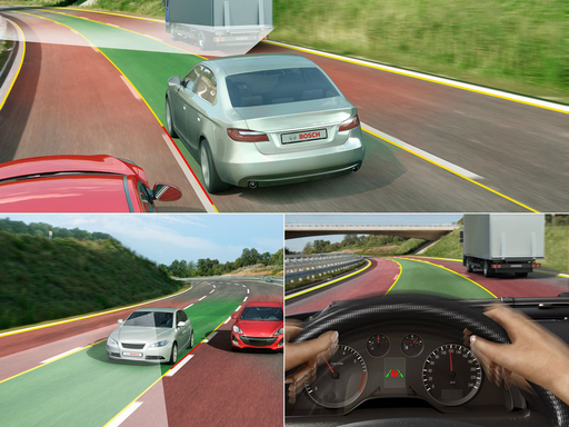 Lane Departure Warning uses a video camera to detect lane markings and to monitor the vehicle's position in its lane. The function warns the driver if the vehicle leaves the lane.