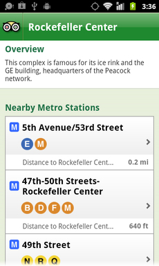 City Guides allows travelers to see nearby transit stations as well as those near any hotels, restaurants, or attractions