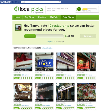 Local Picks surfaces restaurant recommendations from area locals and your Facebook friends