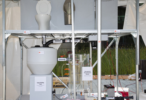 A prototype of a toilet designed by researchers from the California Institute of Technology at the Reinvent the Toilet Fair in Seattle on August 13, 2012. ©Bill & Melinda Gates Foundation/Michael Hanson