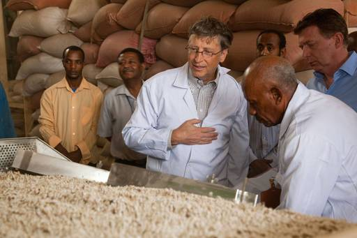 Bill Gates, co-chair of the Bill & Melinda Gates Foundation, visits an agricultural facility in Adama, Ethiopia that processes and ships beans and chickpeas to European markets.