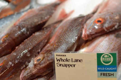 Green-rated snapper at Whole Foods Market fish counter