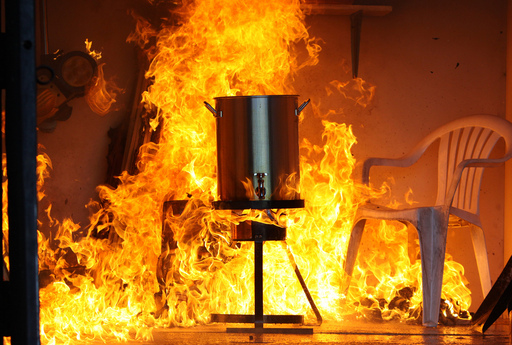 Cook it outside: More than 1/3 of fires involving a fryer start in a garage or patio. Cook outdoors at a safe distance from any buildings or trees.