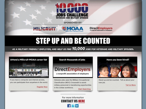 Milicruit hosts the 10,000 Jobs Challenge Website where employers and job seekers can participate at www.10000jobs.com