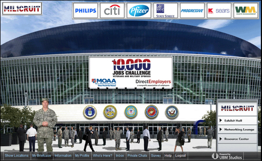 UBM Studios Milicruit Veterans Career Fair virtual plaza