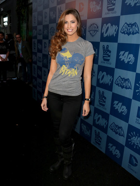 Katherine Webb poses at the Warner Bros. Consumer Products and Junk Food Clothing Batman Classic TV Series product launch at Meltdown Comics in Hollywood, CA on Thurs., March 21, 2013.