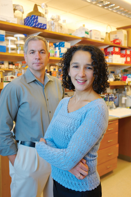 Dr. Yael Mosse and Dr. John Maris in their lab at The Children's Hospital of Philadelphia, where the ALK gene in neuroblastoma was discovered