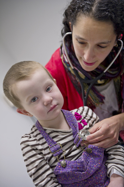 Children's Hospital of Philadelphia oncologist Dr. Yael Mosse with patient Mya who is on the clinical trial