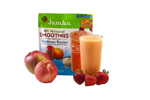 "The new Jamba® ""At Home"" Smoothie, Caribbean Passion®, combines mango, peaches, strawberry and passion fruit flavors. Each package makes two, 8-ounce smoothies."
