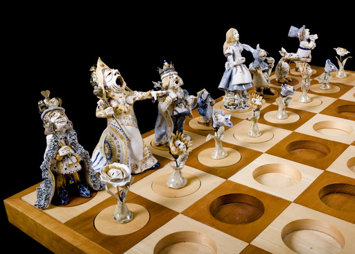 """A Maddening Chess Set, Wonderland Vs. Looking Glass"" (1977) by Catherine A. Ryan of Takoma Park, MD.,  part of  R.J. Reynolds' art collection being provided to Arts Council."