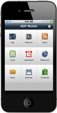 ADP Mobile Solutions application Springboard Screen