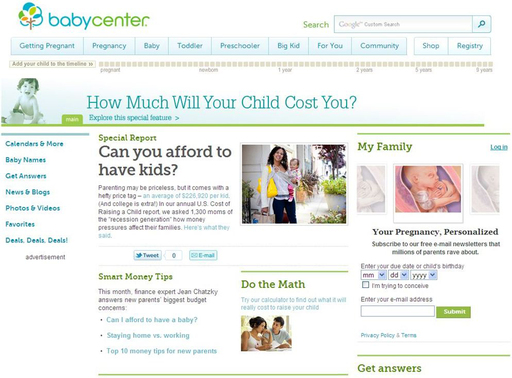 BabyCenter.com released its 2011 U.S. Cost of Raising a Child report