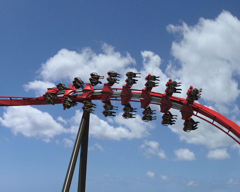 Nearly 3,000 feet of twisted steel with 5 inversions including a zero-g roll, barrel roll and an in-line roll