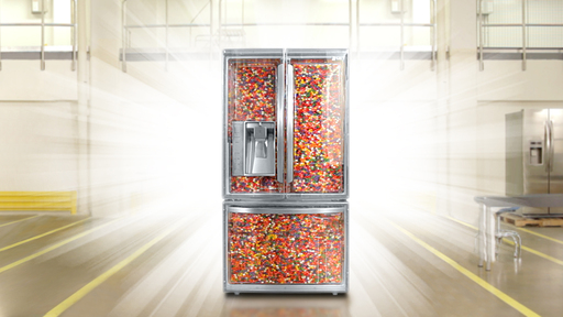 LG invites consumers to guess how many jelly beans are packed inside their super-capacity French-door refrigerator for a chance to win a kitchen makeover & other weekly prizes