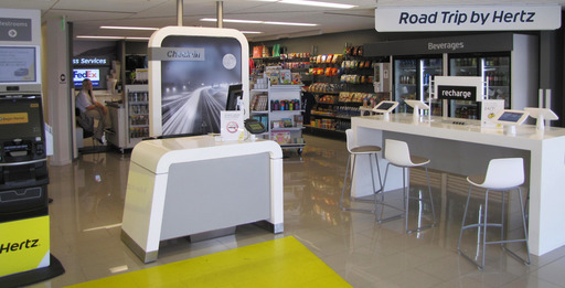 "Hertz's transformed locations feature ""Road Trip by Hertz"" retail stations that allow travelers to access everything they need for business or leisurely travel, including printing and FedEx services."