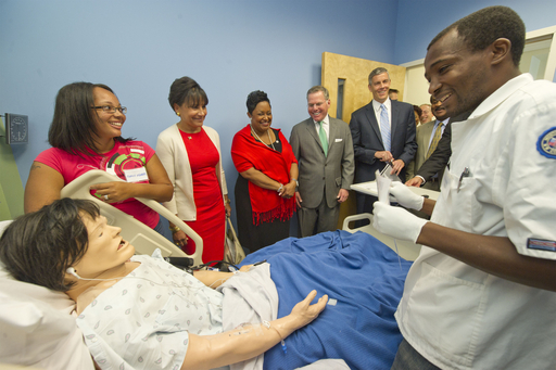 Students at Montgomery College demonstrate the community college's health sciences simulation labs.