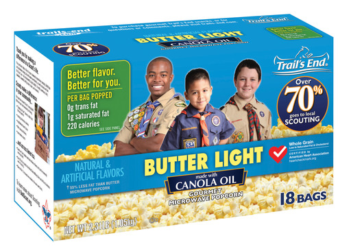 Trail's End offers a variety of microwave popcorn including Butter Light made with canola oil