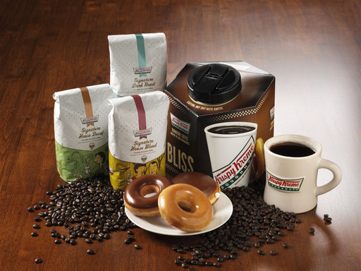 Made with 100% Arabica beans, Krispy Kreme Signature House, Dark Roast and House Decaf Coffees are available in 12oz, 16oz and 20oz cups, 96oz Brew Boxes, and 12oz retail bags.