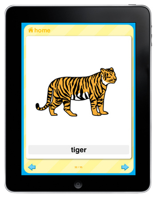 Featuring Picture Communication Symbols (PCS(tm)), PCS Apps in four categories – Flash Cards (shown), Word Scramble, Match & Memory and Bingo – enable learning on mobile devices.