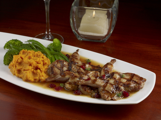 Manchester Farms All-Natural Grilled Quail – with mashed sweet potatoes and bourbon-chili glaze