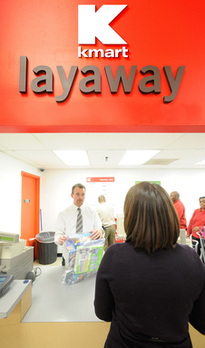 LAYAWAY COUNTER/ SEARS AND KMART LAYAWAY ENABLES SHOPPERS TO PURCHASE NECESSITIES - BEYOND FAVORITE HOLIDAY TOYS AND ELECETRONICS - AND PAY OVER A FIXED PERIOD OF TIME