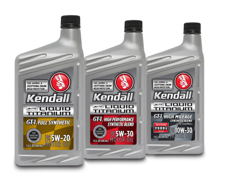 Kendall GT-1® Motor Oil with Liquid Titanium® protection additive—remarkable passenger car engine wear protection that reduces friction, ultimately prolonging engine life