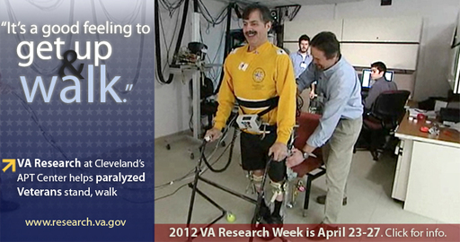 Technology involved on helping paralyzed Veterans walk again will be highlighted at the 2012 VA Research Week Forum April 26th at VA Centeral Office in Washintgon, DC.
