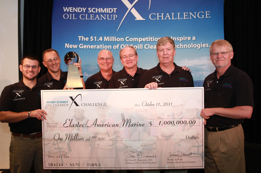 Team Elastec of Illinois receives their $1 million prize as winners of the Wendy Schmidt Oil Cleanup Challenge.