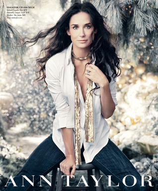 Demi Moore returns as the face of Ann Taylor's Holiday 2011 campaign wearing the brand's Refined Tuxedo Shirt, Shimmery Sequin Scarf and Modern Slim Jeans