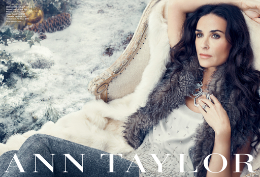 Demi Moore wears Ann Taylor's Elegant Faux Fur Stole, Beaded Icicle Top, Winter Tweed Pant, Chandelier Necklace and Opulent Faux Fur Throw in the brand's Holiday 2011 ad campaign