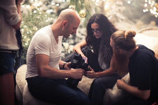 Demi Moore and famed fashion photographer Norman Jean Roy collaborate for Ann Taylor's Holiday 2011 ad campaign photo shoot in Los Angeles