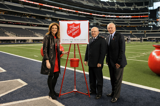 Jerry Jones and Charlotte Jones Anderson from the Dallas Cowboys join Commissioner William Roberts of The Salvation Army to kick-off 120th annual Red Kettle fundraising Campaign. Photo Credit: The Dallas Cowboys