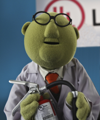 Dr. Bunsen Honeydew learns about the importance of keeping a UL listed fire extinguisher handy. See Disney's The Muppets in theaters this Thanksgiving.