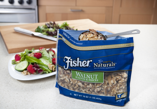 The new Fisher Freshness Seal Bag locks in freshness and makes it easier to scoop nuts right out of the bag