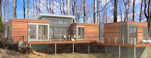 This Breezehouse is being built as a model home for a sustainable development of Blu Homes in Columbia County, NY.
