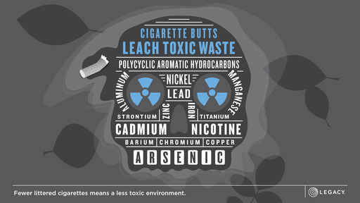 Cigarette butts are the number one littered item on US beaches and roadways. They leach chemicals that are poisonous to wildlife and can contaminate water sources.