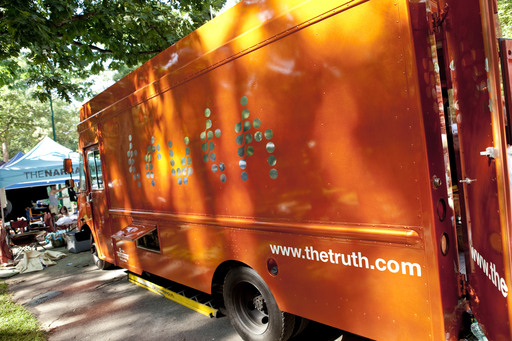 The big orange truth® truck is the home base for the tour riders, with games, giveaways, contests, and fun taking place in the truth® 'zone'