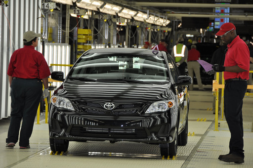 The 2012 Corolla goes through final inspection at Toyota's Blue Springs, Mississippi plant.