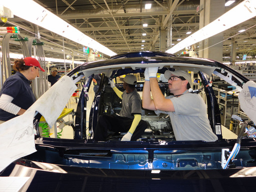 Toyota team members assemble the Corolla at the Blue Springs, Mississippi plant, which is hiring 2,000 team members.