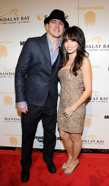 Actor Channing Tatum and wife Jenna Dewan arrive at the Las Vegas premiere of Michael Jackson THE IMMORTAL World Tour by Cirque du Soleil at the Mandalay Bay Resort & Casino.  (Photo by Ethan Miller/Getty Images for Cirque du Soleil)