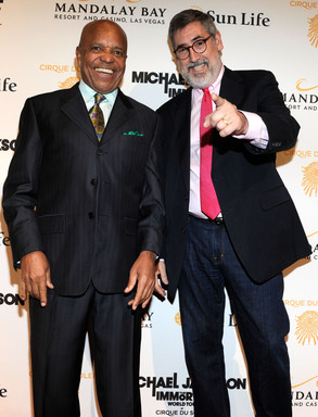 Producer Berry Gordy (L) and director John Landis arrive at the Las Vegas premiere of Michael Jackson THE IMMORTAL World Tour by Cirque du Soleil at the Mandalay Bay Resort & Casino.  (Photo by Ethan Miller/Getty Images for Cirque du Soleil)